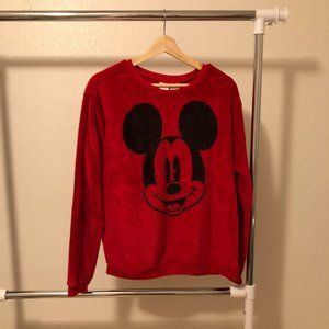Fuzzy Red Mickey Mouse Sweater